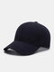 Men Cotton Solid Color Three-dimensional Letter Embroidery Outdoor Casual Sunshade Baseball Cap - Navy