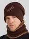 Men 2PCS Embroidered Thick Winter Outdoor Neck Protection Headgear Scarf Knitted Hat Beanie - Coffee