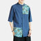 Mens Chinese Style Dragon Pattern Patchwork Vintage Half Sleeve Casual Shirt - Navy