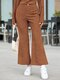Solid Color Button Vintage Bell Bottom Casual Pants For Women - Brown