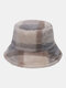 Women & Men Rabbit Fur Plaid Pattern Plus Thicken Warm Windproof Soft All-match Travel Bucket Hat - Light Grey