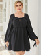 Solid Color Bowknot Square Collar Plus Size Casual Dress - Black