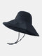 Women Cotton And Linen Solid Color Big Brim Sun Protection Bucket Hat - Black 1#