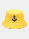 महिला और पुरुष लंगर सर्वाइवल सर्कल पैटर्न आउटडोर सनशेड बाल्टी टोपी - पीला