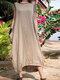 Solid Color Sleeveless Plus Size Summer Dress with Pockets - Khaki
