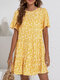 Floral Print Short Sleeve Pleated O-neck Summer Holiday Dress - Yellow
