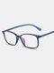 Square Frame Men Anti-Blue Flat Mirror Glasses Ultra-Light Women Computer Goggles - Blue