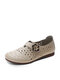Women Casual Breathable Sen Department Shoes Hollow-out Calico Flats - Beige
