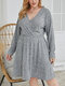 Casual Plain Ribbed V-neck Long Sleeve Plus Size Dress for Women - Gray