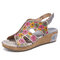 SOCOFY Leather Cutout Floral Splicing Stitching Adjustable Slingback Wedge Sandals - Grey
