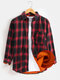 Mens Plaid Thick Button Up Lapel Chest Pocket Warm Shirt Jacket - Red