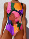 Women Abstract Figure Painting Print High Neck One Piece Slimming Swimsuit - Multi Color