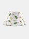 Unisex Cotton Cartoon Fruit Pattern Printing Fashion Sunshade Bucket Hat - White Avocado