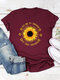 Casual Basic Letter Floral Printed Short Sleeve O-neck T-Shirt - Wine Red