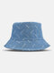 Unisex Denim Solid Color Ripped Holes Frayed Edges Fashion Made-old Bucket Hat - Blue