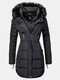 Solid Color Zip Front Hooded Casual Plush Coat For Women - Black