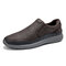 Menico Men Comfy Round Toe Light Weight Slip On Walking Shoes - Coffee