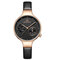 Waterproof Elegant Women Wrist Watch Genuine Leather Strap Quartz Watch - Black