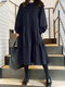 Solid Color O-neck Long Puff Sleeve Pleated Dress - Navy