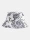Unisex Cotton Line Drawing Cashew Flower Print Vintage Fashion Sun Protection Bucket Hat - Black