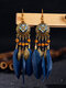 Alloy Vintage Bohemia Round Oil Painting Long Fringed Tassel Feather Earrings - Navy