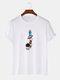 メンズ100%コットン無地漫画宇宙飛行士プリントルーズシンTシャツ - 白い
