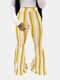 Striped Print Bell-bottomed Long Casual Pant for Women - Yellow