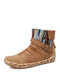 SOCOFY Retro Comfy Round Toe Warm Lining Wearable Side Zipper Casual Flat Short Boots - Brown