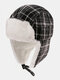 Men & Women Plaid PatternCold-proof Winter Trapper Hat Thick Winter Hat Ear Protection Trapper Hat - Black
