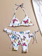 Women Butterfly Printing String Halter Backless Bikinis Swimsuit With 2Pcs Thongs - White