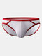 Mesh Breathable Patchwork Briefs Pure Color Pouch Underwear - Red
