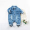Baby Cartoon Printed Denim Romper For 0-24M