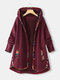 Floral Print Patchwork Long Sleeve Jacquard Hooded Plus Size Coat - Red