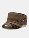 Men Washed Distressed Cotton Mesh Patchwork Stars Rivet Decoration Breathable Sunscreen Military Hat Flat Cap - Brown