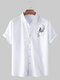 Mens Butterfly Embroidery Business Slim Shirt Collar Shirt - White