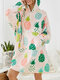 Women Colorful Pineapple Print Two-Sided Robe Sherpa Lined Oversized Wearable Blanket Hoodie Cozy Sweatshirt With Pouch Pocket - Pink