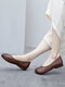 Women Ethnic Comfy Soft Wide Fit Round Toe Slip On Loafers Casual Flat Shoes Ballet Shoes - Brown