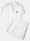 Mens Letter Side Print Zipper Top Mesh Sport Sets With Drawstring Shorts - White