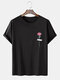 Mens Cotton Rose Chest Printed Loose Casual Short Sleeve T-Shirts - Black