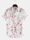 Flowers Printed Breathable Loose Short Sleeve Lapel Shirt - White