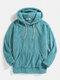 Mens Solid Color Fleece Fluffy Elastic Hem Pouch Pocket Teddy Hoodie - Lake Blue