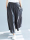 Casual Solid Color Plus Size Wide Leg Pants with Pockets - Dark Grey