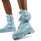 Women's Round Toes Solid Color Large Size Lace Up Front Platform Boots - Blue