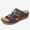 LOSTISY Flower Embroidered Vintage Casual Wedges Sandals - Navy