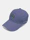 पुरुष कढ़ाई पत्र पैटर्न सादा रंग बेसबॉल टोपी आउटडोर सनशेड समायोज्य टोपी - नीला