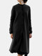 Solid Color Button Pocket Long Sleeve Casual Coat for Women - Black