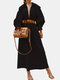 Lapel Solid Color Long Sleeve Casual Maxi Dress For Women - Black