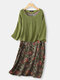 Vintage Floral Print Fake Two Pieces Plus Size Dress with Pocket - Green