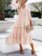 Solid Color V-neck Knotted Long Sleeve Patchwork Casual Dress - Pink