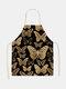 تنظيف بنمط الفراشة Colorful مآزر الطبخ المنزلي مريلة المطبخ للطبخ ارتداء مرايل الكبار من القطن والكتان - رقم 27
